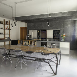 Photo of a large industrial eat-in kitchen in Other with quartz benchtops, stainless steel appliances, porcelain floors, with island, grey floor, black benchtop, flat-panel cabinets and distressed cabinets.