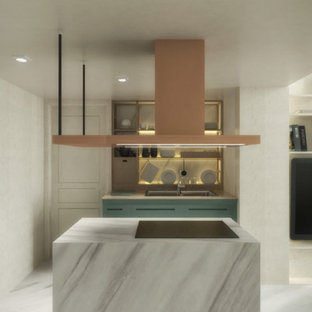Inspiration for a small modern l-shaped open plan kitchen in Rome with a drop-in sink, open cabinets, turquoise cabinets, marble benchtops, grey splashback, marble splashback, coloured appliances, marble floors, with island, grey floor and grey benchtop.