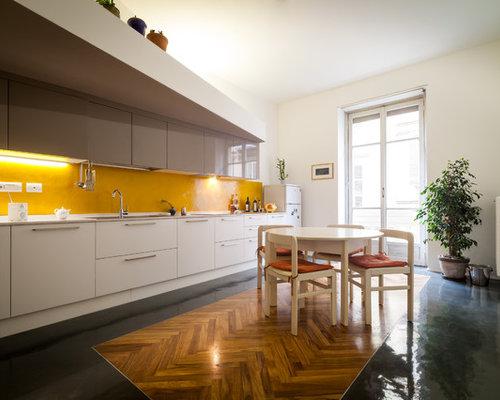 diseo de cocina comedor lineal minimalista grande con fregadero armarios con