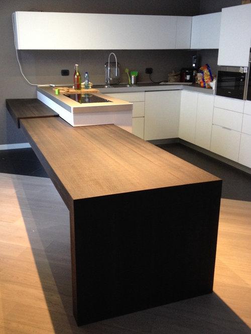 cucina con tavolo penisola estraibile e top in fenix - Tavolo Penisola Cucina