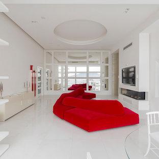 Idee per una cucina contemporanea con pavimento bianco