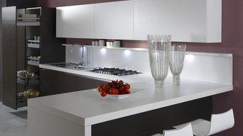 Cucina Modello FIORENZA anta Impiallacciato Rovere Grigio e Laccato Opaco Bianco