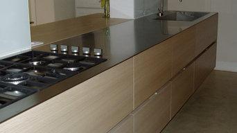 cucina rovere e acciaio