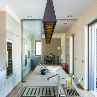 Idee per una cucina design di medie dimensioni con ante lisce e isola