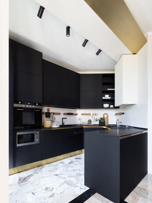 Mid Sized Contemporary Kitchen Designs   Mid Sized Contemporary U Shaped  Marble Floor Part 62