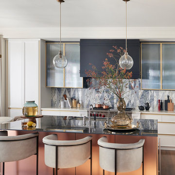 Inlaid marble tiles for kitchen interiors | Rosemary by Stacey Cohen Design