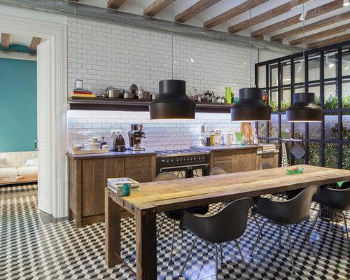 Industrial kitchen with subway tile backsplash design ideas ...
