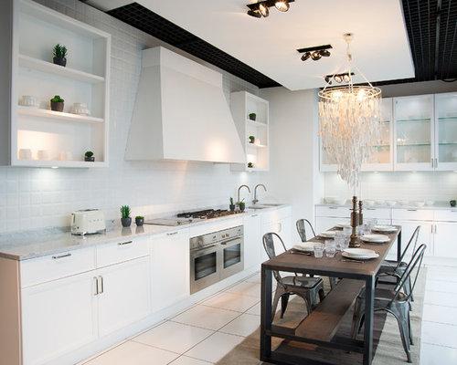 Cucina abitabile con ante a filo foto e idee per arredare - Piastrelle tipo veneziana ...