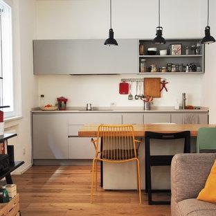 Idee per una cucina minimal con ante grigie, parquet chiaro, ante lisce, nessuna isola e pavimento marrone