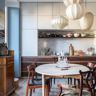 Ispirazione per una cucina scandinava di medie dimensioni con ante lisce e nessuna isola