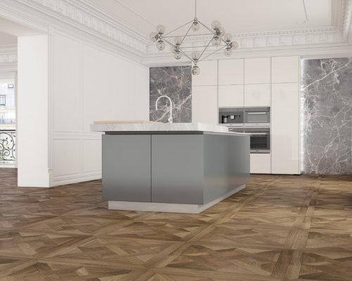 Parquet a quadrotte di rovere in cucina, villa privata