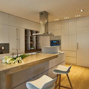 Foto di un cucina con isola centrale contemporaneo con lavello integrato, ante lisce, ante grigie, elettrodomestici da incasso, pavimento in legno massello medio e top grigio