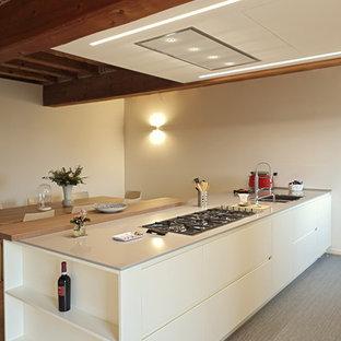 Ispirazione per una cucina abitabile minimalista di medie dimensioni con lavello a vasca singola, ante lisce, top in superficie solida, pavimento in laminato, penisola e pavimento grigio