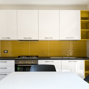 75 Beautiful Kitchen With A Drop In Sink And Yellow Backsplash Pictures Ideas April 2021 Houzz