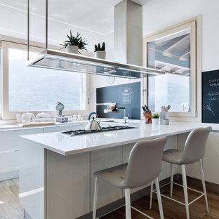 Ispirazione per una cucina ad U minimal con lavello a vasca singola, ante lisce, ante bianche, parquet chiaro, penisola e top bianco