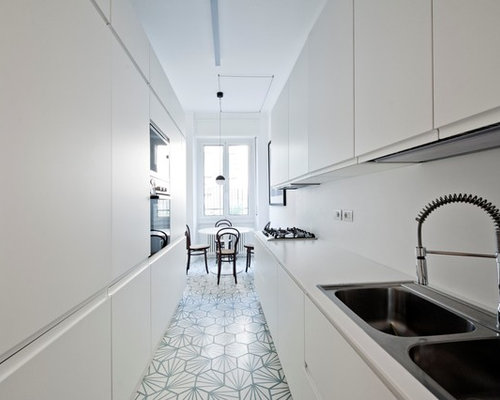 Inspiration For A Mid Sized Scandinavian Galley Eat In Kitchen Milan With Flat