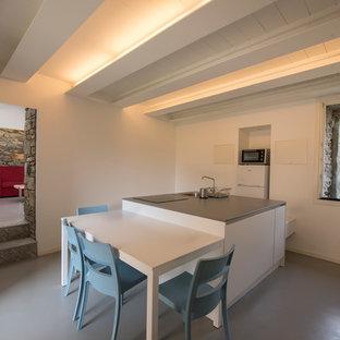 Immagine di una grande cucina ad ambiente unico minimal con lavello da incasso, ante lisce, ante bianche, top in quarzite, elettrodomestici in acciaio inossidabile, pavimento in cemento, isola e pavimento grigio