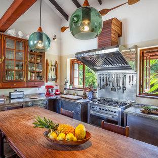 Große Tropische Wohnküche ohne Insel in L-Form mit Edelstahlfronten, Edelstahl-Arbeitsplatte, Küchengeräten aus Edelstahl und flächenbündigen Schrankfronten in Sonstige