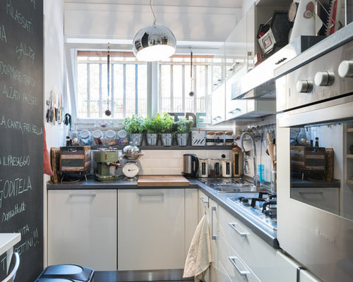 Small Modern Kitchen Ideas   Small Modern L Shaped Kitchen Idea In Rome  With White
