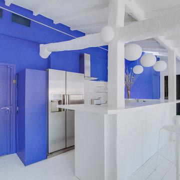 Aménagement d'une cuisine bleue