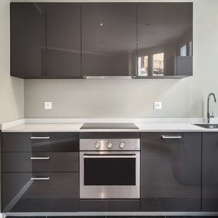 Inspiration for a small modern single-wall open plan kitchen in Other with an integrated sink, beaded inset cabinets, grey cabinets, quartzite benchtops and no island.