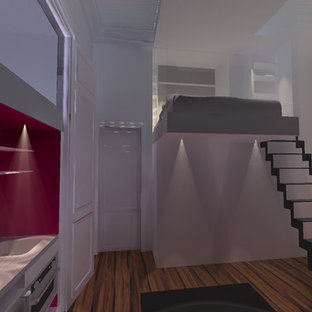 Offene, Einzeilige, Kleine Moderne Küche ohne Insel mit integriertem Waschbecken, Kassettenfronten, Edelstahlfronten, Edelstahl-Arbeitsplatte, Küchenrückwand in Rosa, Glasrückwand und Küchengeräten aus Edelstahl in Sonstige