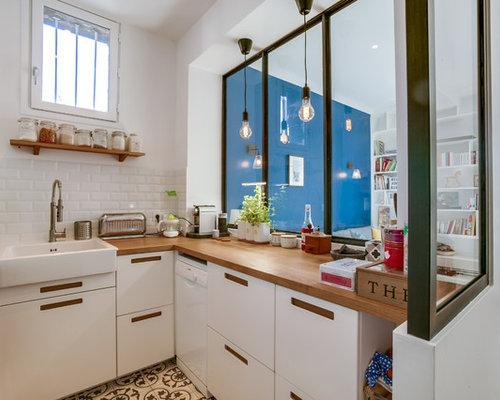 kleine k chen mit zementfliesen ideen bilder. Black Bedroom Furniture Sets. Home Design Ideas