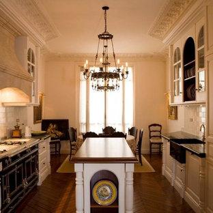Cette photo montre une grande cuisine américaine parallèle chic avec un îlot central.