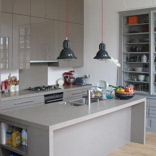 Cette photo montre une grande cuisine ouverte parallèle tendance avec un îlot central.