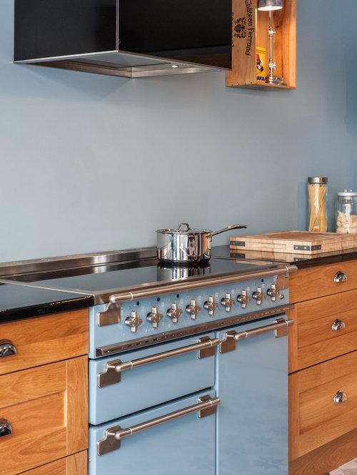 Cuisine industrielle bleu bois et moderne for Cuisine industrielle moderne