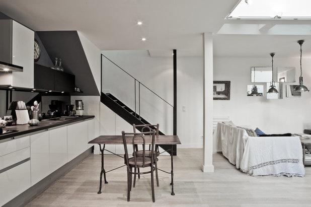 le case di houzz uno studio parigino riadattato per la vita quotidiana. Black Bedroom Furniture Sets. Home Design Ideas