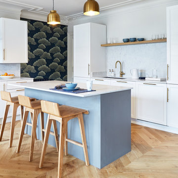 Chic and Colorful Parisian apartment with open kitchen