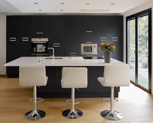 cuisine am ricaine avec un plan de travail en quartz photos et id es d co de cuisines am ricaines. Black Bedroom Furniture Sets. Home Design Ideas