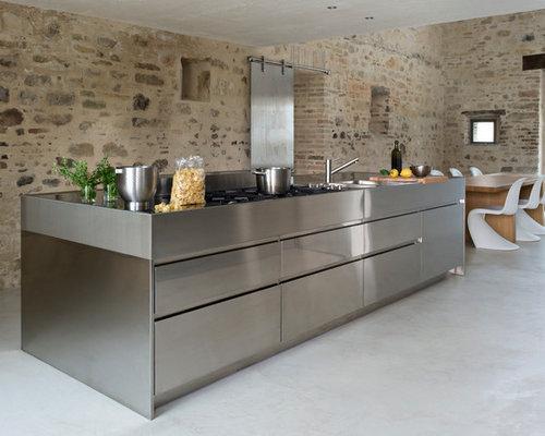 D coration facade de cuisine inox 38 pau poignee - Facade de cuisine seule ...