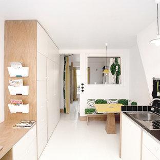 Inspiration For A Small Contemporary Galley Eat In Kitchen Remodel Paris With Flat