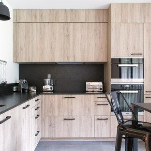 Exemple Du0027une Cuisine Scandinave En L Avec Un Plan De Travail En Granite,