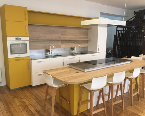 40 yellow kitchen design photos with coloured appliances