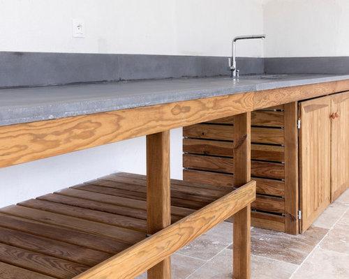 cuisine d'été - meuble bois massif et plan de travail béton - Meuble Cuisine En Bois Massif