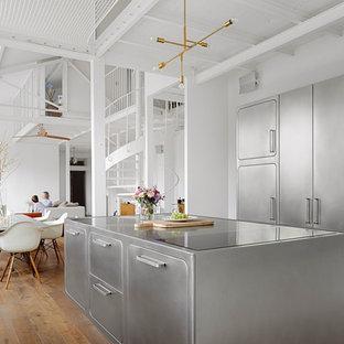 Ejemplo de cocina nórdica, de tamaño medio, abierta, con armarios con paneles lisos, puertas de armario en acero inoxidable y una isla