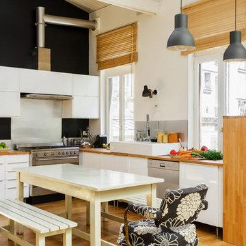 Cuisine dans un loft sur le 18e arrondissement de Paris