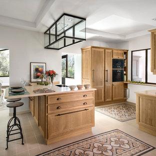 Idée de décoration pour une grand cuisine américaine parallèle tradition avec un placard avec porte à panneau encastré, des portes de placard en bois clair et une péninsule.