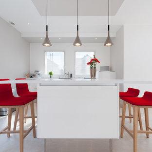 Réalisation d'une grande cuisine américaine linéaire design avec un évier intégré, un placard à porte affleurante, des portes de placard blanches, un plan de travail en quartz, un électroménager encastrable et un îlot central.