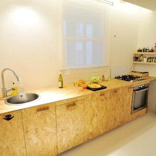 Cuisine en OSB sur meubles ikéa adaptés