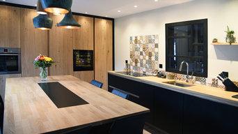 Cuisine moderne bois massif et noir mat - photo 5