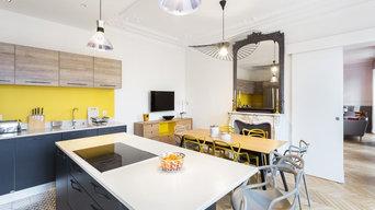 Cuisine moderne dans un appartement Haussmannien