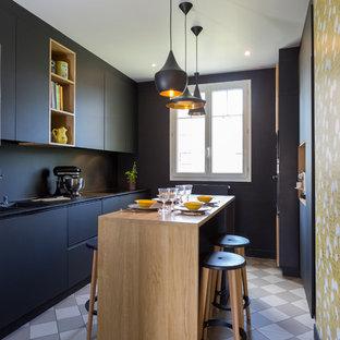 Cuisine noire mat et bois