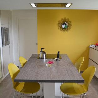 Imagen de cocina comedor de galera, minimalista, de tamaño medio, con puertas de armario blancas, electrodomésticos de acero inoxidable y una isla