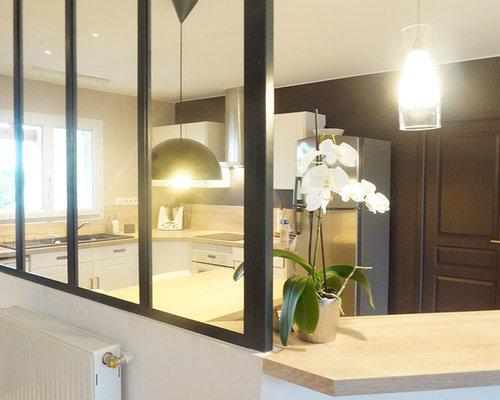 Décoration et relooking d\'une cuisine avec verrière intérieure
