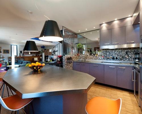cuisine ouverte avec des portes de placard grises photos et id es d co de cuisines ouvertes. Black Bedroom Furniture Sets. Home Design Ideas