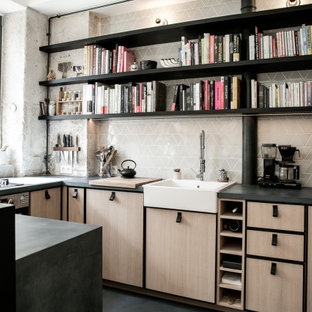 Inspiration for a scandinavian l-shaped eat-in kitchen in Paris with an undermount sink, beaded inset cabinets, light wood cabinets, concrete benchtops, green splashback, ceramic splashback, panelled appliances, concrete floors, a peninsula, blue floor and blue benchtop.